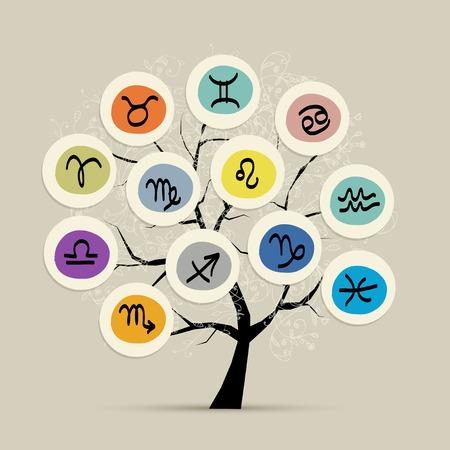 aries: Árbol del arte con los signos del zodíaco para su diseño Vectores