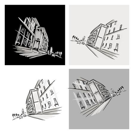 Altstadt Skizze mit der Straße der Stadt für Ihr Design Standard-Bild - 30835587
