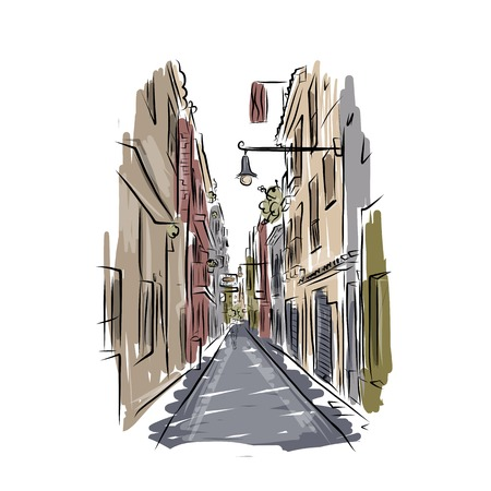 spanish landscapes: Sketch of old spanish street for your design