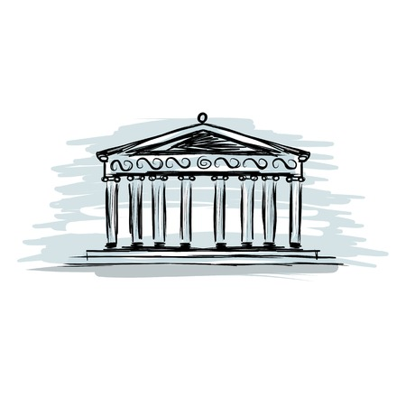 greek currency: Building with columns, sketch for your design