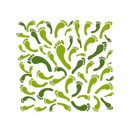 green footprint: Green footprint background for your design Illustration