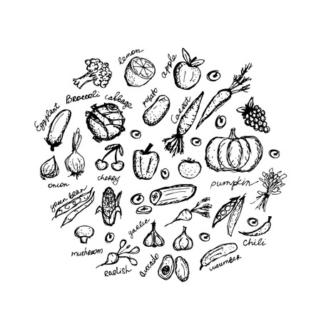 grapes and mushrooms: Vegetable sketch frame for your design