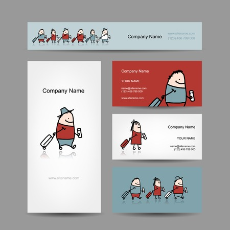 Design of business cards, traveler with suitcase