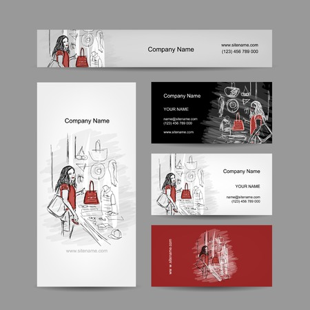 Set of business cards design, girl near the storefront Vector