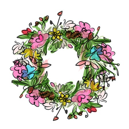 Floral wreath sketch for your design Vector