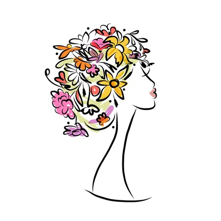 Female profile with floral hairstyle for your design Vector