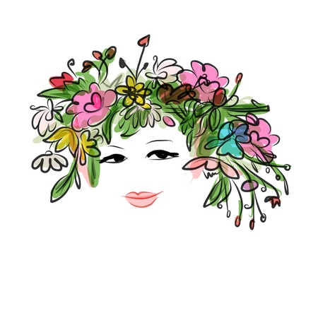 Female portrait with floral hairstyle for your design Vector