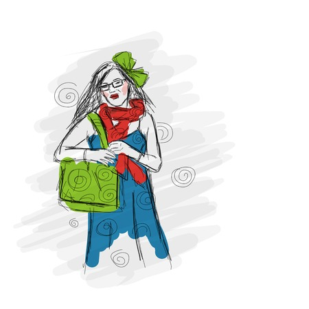 Fashion girl, sketch for your design Vector