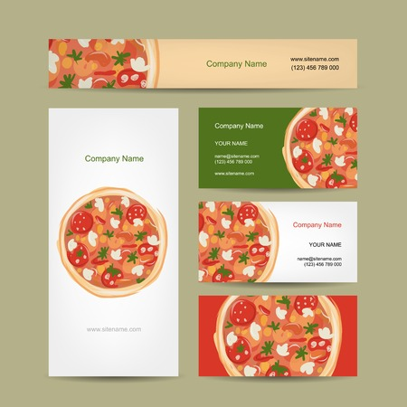 Set of business cards design with pizza, vector illustration Vector