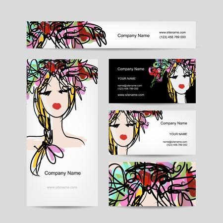 Visitekaartjes ontwerp met vrouwelijke bloemen hoofd. Vector illustratie