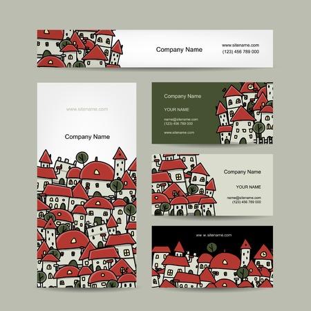 Business cards design, cityscape sketch. Vector illustration Illustration
