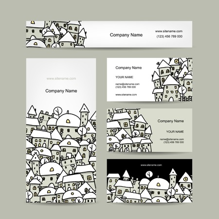 Business cards design, winter cityscape sketch. Vector illustration Vector