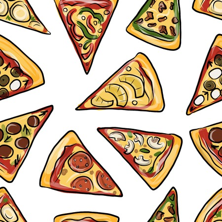Pizza, seamless pattern for your design. Vector illustration Vector