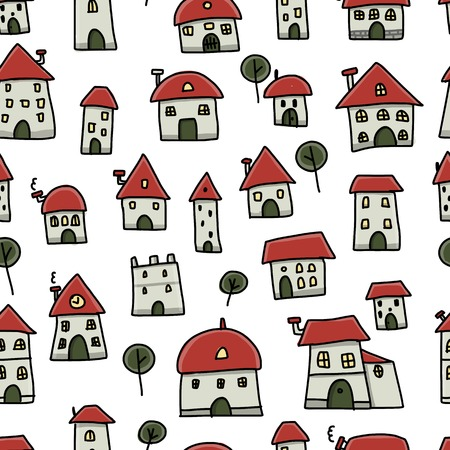 City sketch, seamless pattern for your design. Vector illustration Vector