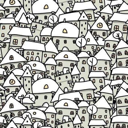 Winter-Stadt Skizze, nahtlose Muster für Ihr Design. Vektor-Illustration Vektorgrafik