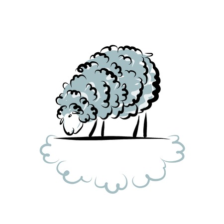 Sheep sketch for your design. Vector illustration Vector