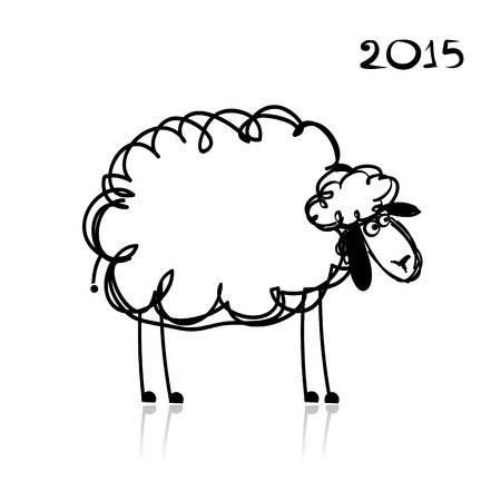 Sheep sketch, symbol of new year 2015. Vector illustration Vector