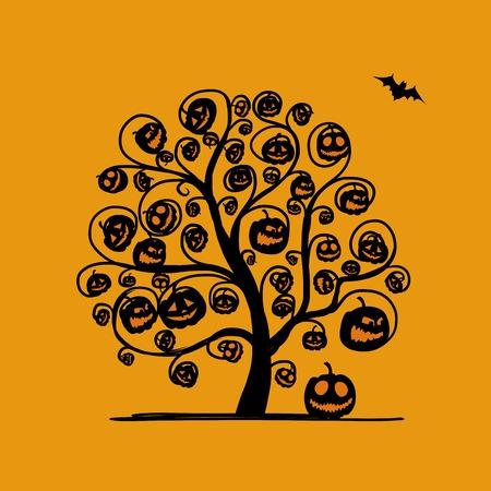 Halloween tree with pumpkins, sketch for your design. Vector illustration Vector