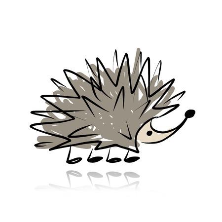 Funny hedgehog, sketch for your design. Vector illustration Illustration