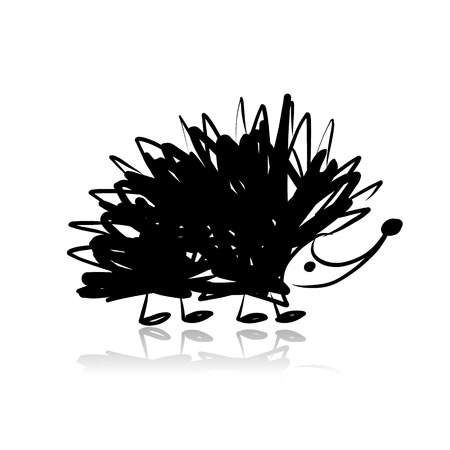 Funny hedgehog, sketch for your design. Vector illustration Çizim