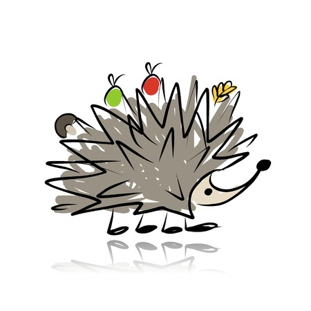 Funny hedgehog, sketch for your design. Vector illustration Vector