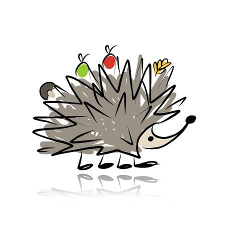 cartoon hedgehog: Funny hedgehog, sketch for your design. Vector illustration Illustration