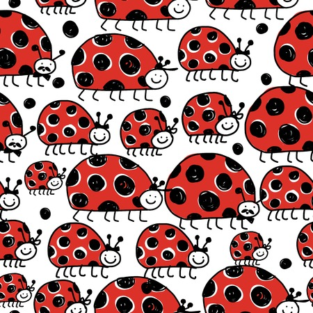 Ladybird family, seamless pattern for your design