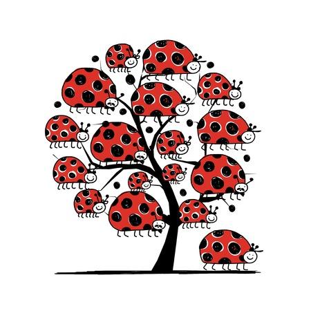 Famille coccinelle, conception d'arbre d'art. Vector illustration Banque d'images - 31269801