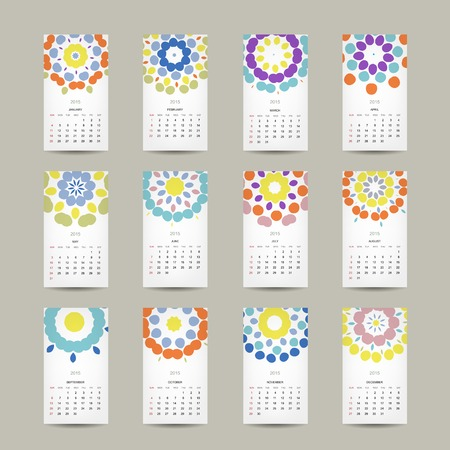 Calendar grid 2015 for your design, floral ornament Vector