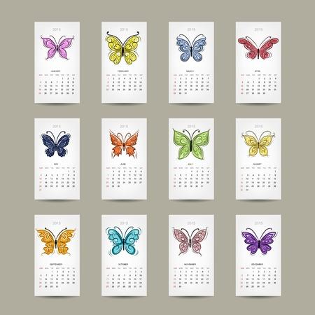 Calendar grid 2015, buttyrfly design Vector