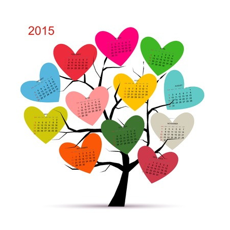 Calendar tree 2015 for your design Stock Vector - 31488692