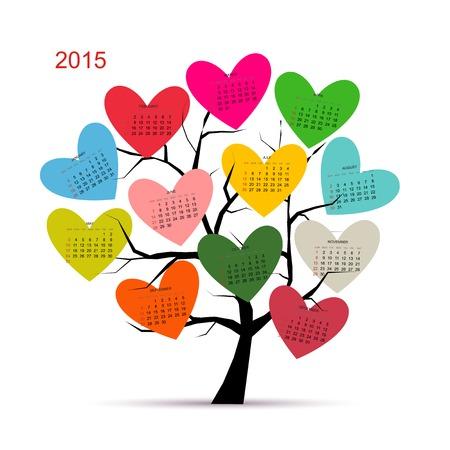 calendrier jour: Calendrier arbre 2015 pour votre conception Illustration