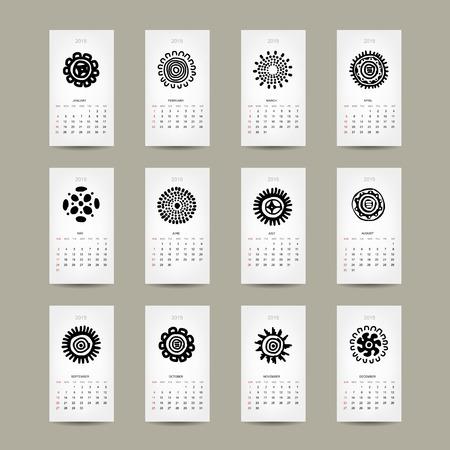 Calendar grid 2015 for your design, ethnic ornament Vector