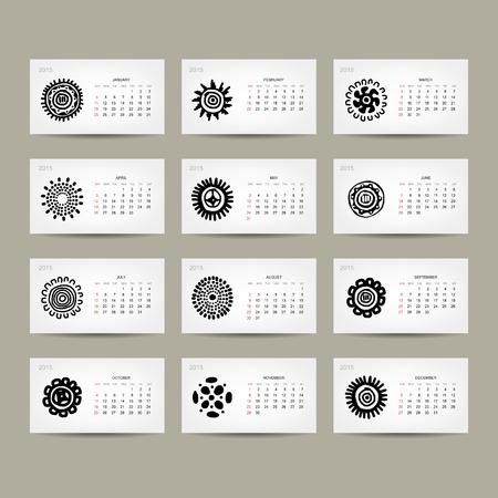 Calendar grid 2015 for your design, ethnic ornament
