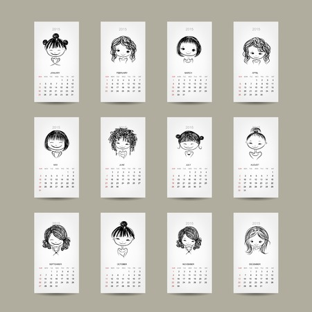 Calendar grid 2015, cute girls design Vector