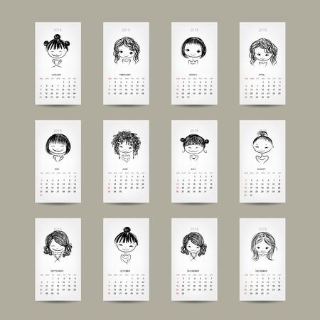 Calendar grid 2015, cute girls design