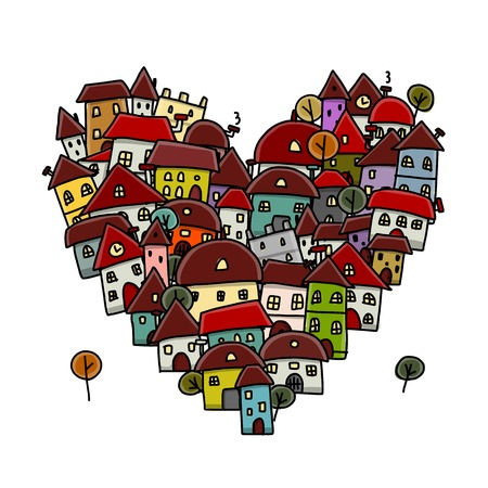 neighbors: City of love, heart shape sketch for your design