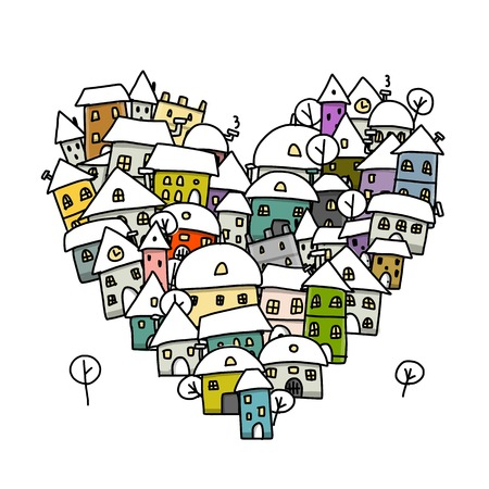 country life: Winter city of love, heart shape sketch for your design