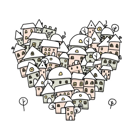 Winter city of love, heart shape sketch for your design Vector