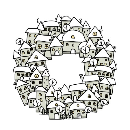 Winter city sketch, background for your design Illustration