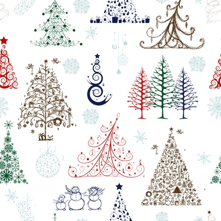 Christmas trees, seamless pattern for your design Vector