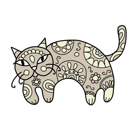 あなたの設計のための花飾りとアート猫  イラスト・ベクター素材
