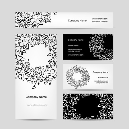 Business cards collection, floral wreath design Illustration