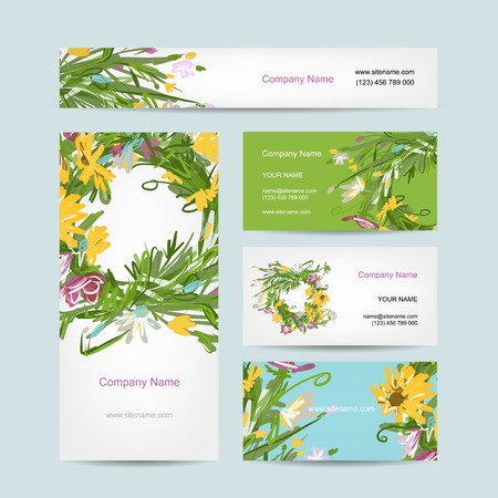 Business cards collection, floral wreath design Vector