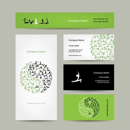 Yin Yang made from yoga asana. Set of business cards design Vector