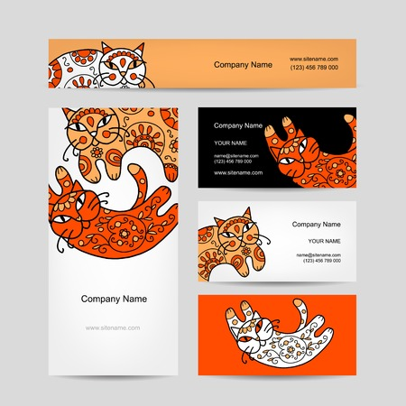 Art cats with floral ornament. Business cards design Vector