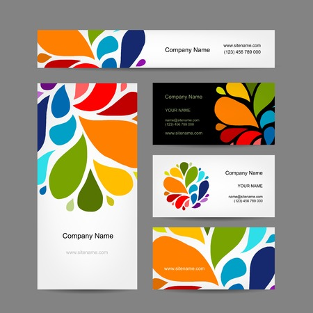 painted the cover illustration: Set of abstract creative business cards design