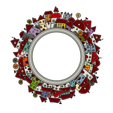 City sketch, frame for your design Vector