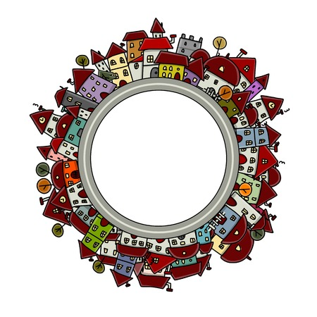 round window: City sketch, frame for your design