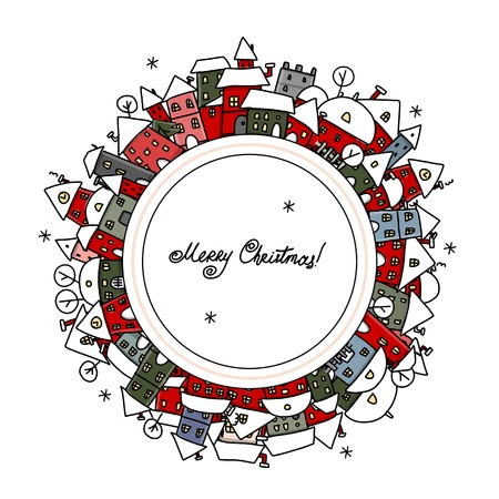 Christmas card with winter city sketch for your design Vector